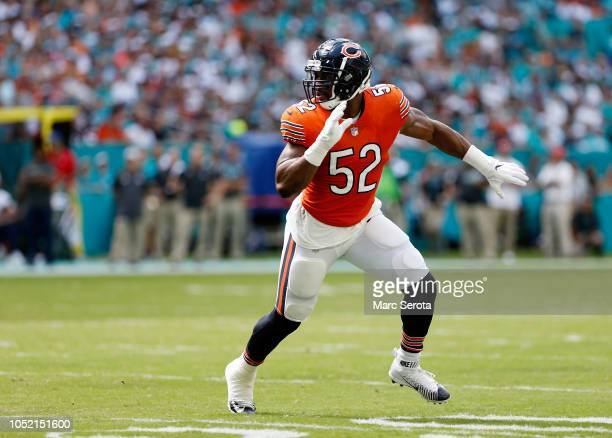 Khalil Mack of the Chicago Bears in action on the field in the second half with a taped ankle against the Miami Dolphins at Hard Rock Stadium on...