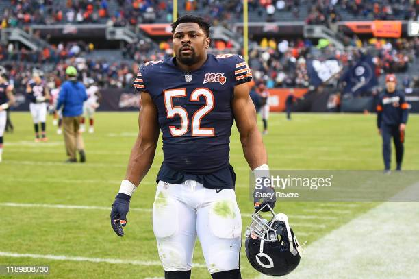 Khalil Mack of the Chicago Bears leaves the field following a game against the New York Giants at Soldier Field on November 24 2019 in Chicago...