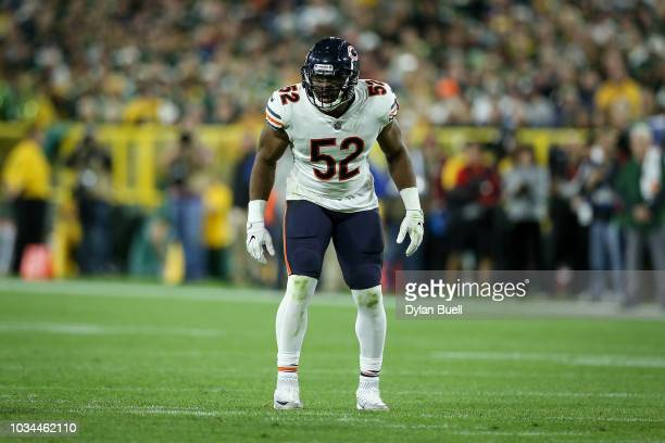 Khalil Mack of the Chicago Bears lines up for a play in the fourth quarter against the Green Bay Packers at Lambeau Field on September 9 2018 in...
