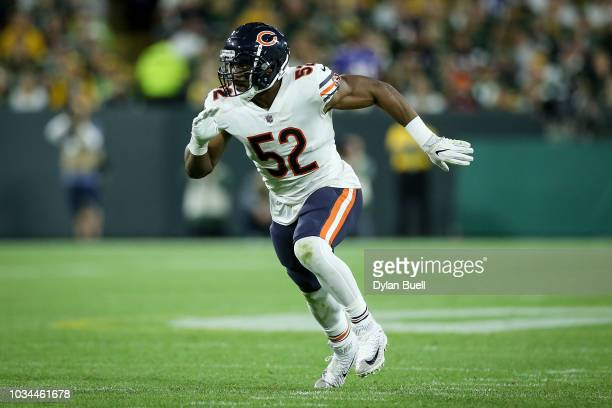 Khalil Mack of the Chicago Bears lines up for a play in the third quarter against the Green Bay Packers at Lambeau Field on September 9 2018 in Green...