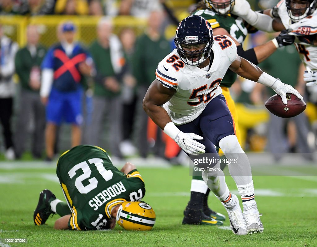 Khalil Mack #52 of the Chicago Bears reacts after sacking Aaron Rodgers #12 during the second quarter of a game at Lambeau Field on September 9, 2018 in Green Bay, Wisconsin.