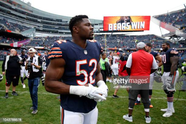 Khalil Mack of the Chicago Bears runs off of the field after defeating the Tampa Bay Buccaneers 4810 at Soldier Field on September 30 2018 in Chicago...