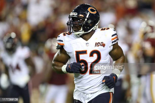 Khalil Mack of the Chicago Bears runs off the field against the Washington Redskins at FedExField on September 23 2019 in Landover Maryland