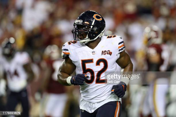 Khalil Mack of the Chicago Bears runs off the field against the Washington Redskins in the second half at FedExField on September 23 2019 in Landover...