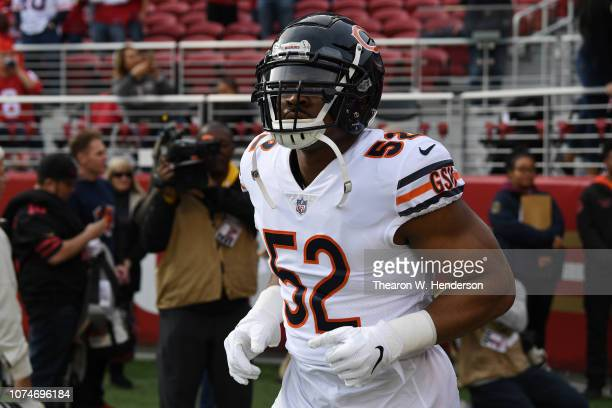 Khalil Mack of the Chicago Bears runs onto the field prior to their NFL game against the San Francisco 49ers at Levi's Stadium on December 23 2018 in...