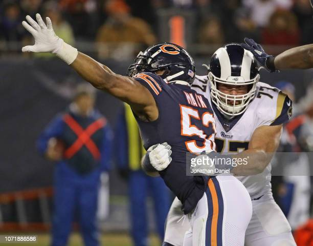 Khalil Mack of the Chicago Bears rushes against Andrew Whitworth of the Los Angeles Rams at Soldier Field on December 9, 2018 in Chicago, Illinois.