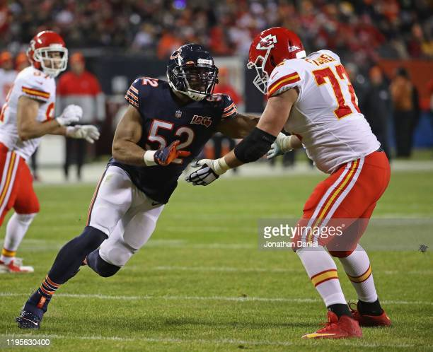 Khalil Mack of the Chicago Bears rushes against Eric Fisher of the Kansas City Chiefs at Soldier Field on December 22 2019 in Chicago Illinois The...