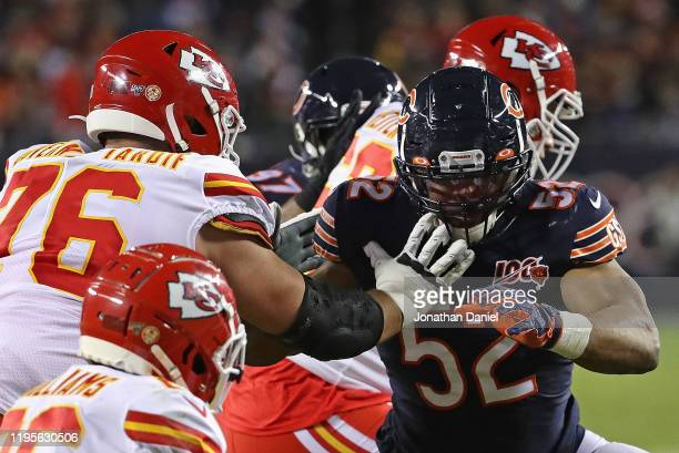 Khalil Mack of the Chicago Bears rushes against Laurent DuvernayTardif of the Kansas City Chiefs at Soldier Field on December 22 2019 in Chicago...