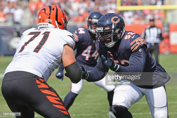 Khalil Mack of the Chicago Bears rushes against Riley Reiff of the Cincinnati Bengals at Soldier Field on September 19, 2021 in Chicago, Illinois....