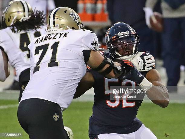 Khalil Mack of the Chicago Bears rushes against Ryan Ramczyk of the New Orleans Saints at Soldier Field on November 01, 2020 in Chicago, Illinois....