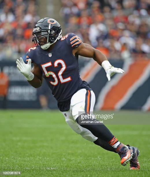 Khalil Mack of the Chicago Bears rushes against the Tampa Bay Buccaneers at Soldier Field on September 30 2018 in Chicago Illinois The Bears defeated...