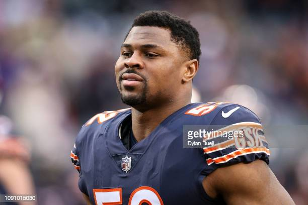 Khalil Mack of the Chicago Bears walks across the field before the NFC Wild Card Playoff game against the Philadelphia Eagles at Soldier Field on...