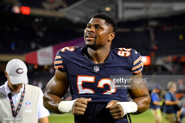 Khalil Mack of the Chicago Bears walks off the field after defeating the Seattle Seahawks 2417 at Soldier Field on September 17 2018 in Chicago...