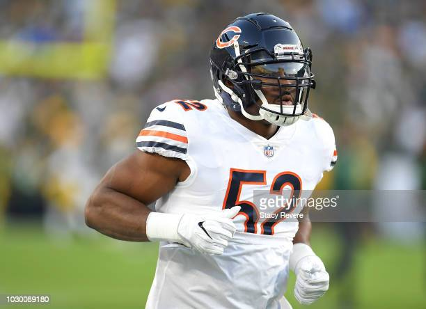 Khalil Mack of the Chicago Bears warms up before a game against the Green Bay Packers at Lambeau Field on September 9 2018 in Green Bay Wisconsin