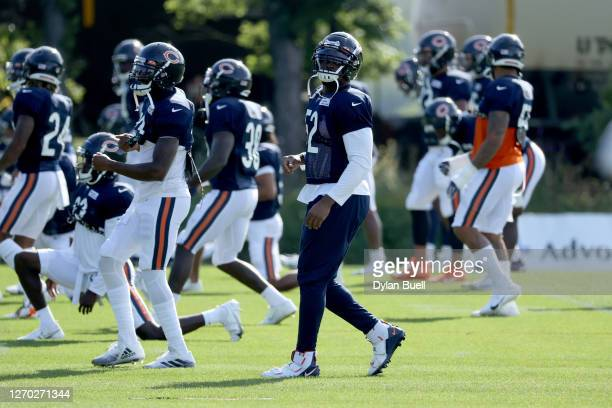 Khalil Mack of the Chicago Bears warms up during training camp at Halas Hall on September 02, 2020 in Lake Forest, Illinois.