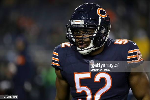 Khalil Mack of the Chicago Bears warms up prior to the game against the Los Angeles Rams at Soldier Field on December 9 2018 in Chicago Illinois