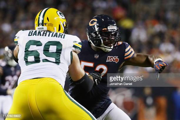Khalil Mack of the Chicago Bears works against David Bakhtiari of the Green Bay Packers during the first quarter in the game at Soldier Field on...