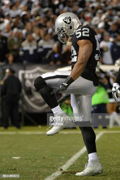 Khalil Mack of the Oakland Raiders celebrates a sack of Dak Prescott of the Dallas Cowboys during their NFL game at OaklandAlameda County Coliseum on...