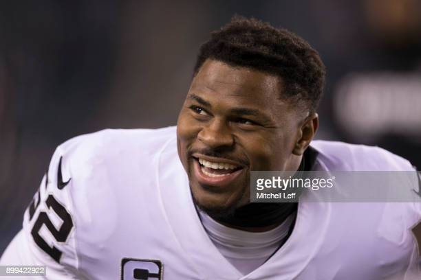 Khalil Mack of the Oakland Raiders smiles prior to the game against the Philadelphia Eagles at Lincoln Financial Field on December 25 2017 in...