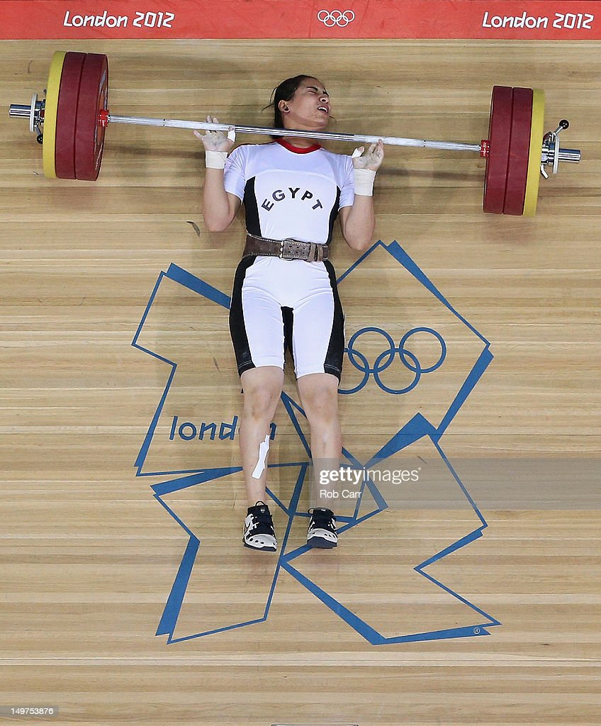 Khalil Mahmoud K Abir Abdelrahman of Egypt fails to complete a lift during the Women's 75kg Weightlifting Final on Day 7 of the London 2012 Olympic Games at ExCeL on August 3, 2012 in London, England.
