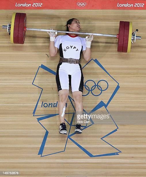 Khalil Mahmoud K Abir Abdelrahman of Egypt fails to complete a lift during the Women's 75kg Weightlifting Final on Day 7 of the London 2012 Olympic...