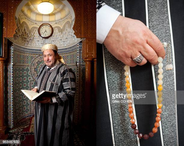 Khalil Merroun Povost mosque of Evry, Povost of the biggest mosque of France in Evry. Activist for tolerance between religions. Close-up of rosary....