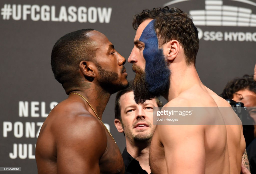 Khalil Rountree Jr. and Paul Craig of Scotland face off during the UFC Fight Night weigh-in at the SSE Hydro Arena Glasgow on July 15, 2017 in Glasgow, Scotland.