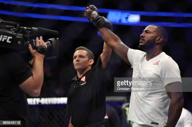 Khalil Rountree Jr. Celebrates his win over Gokhan Saki of Turkey in their light heavyweight fight during the UFC 226 event inside T-Mobile Arena on...