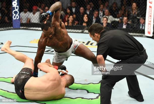 Khalil Rountree Jr. Finshes Gokhan Saki of Turkey in their light heavyweight fight during the UFC 226 event inside T-Mobile Arena on July 7, 2018 in...