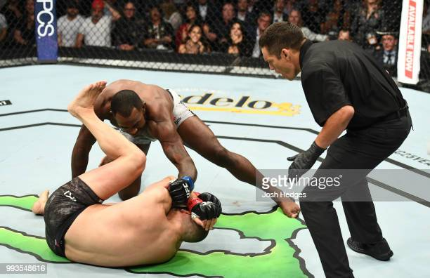 Khalil Rountree Jr. Finsihes Gokhan Saki of Turkey in their light heavyweight fight during the UFC 226 event inside T-Mobile Arena on July 7, 2018 in...