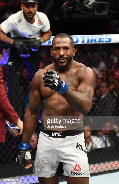 Khalil Rountree Jr. Paces the Ocatgon before fighting Gokhan Saki of Turkey in their light heavyweight fight during the UFC 226 event inside T-Mobile...