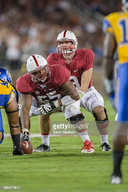 Khalil Wilkes of the Stanford Cardinal views the defense as quarterback Kevin Hogan calls signals during an NCAA football game against the San Jose...