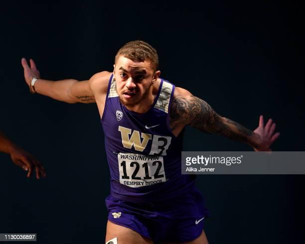 Khalil Winfrey of the Washington Huskies wins the men's 60 meter dash at Dempsey Indoor Center on February 15 2019 in Seattle Washington