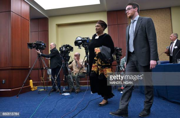 Khalilah CamachoAli former wife of Muhammad Ali arrives for a forum on the consequences of US President Donald Trump's immigration policies at the US...