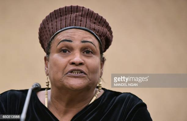 Khalilah CamachoAli wife of boxing legend Muhammad Ali speaks during a forum on the consequences of US President Donald Trump's immigration policies...