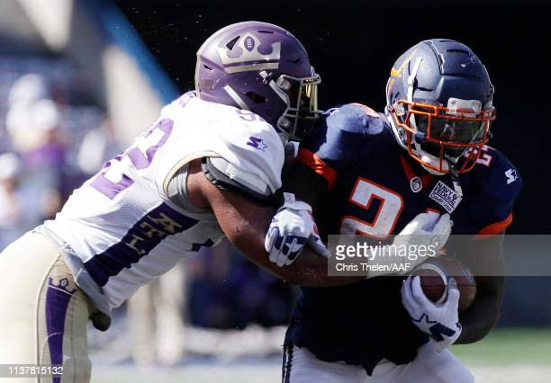 KhalilBass of the Atlanta Legends attempts to tackle De'VeonSmith of the Orlando Apollos during the second half in an Alliance of American Football...