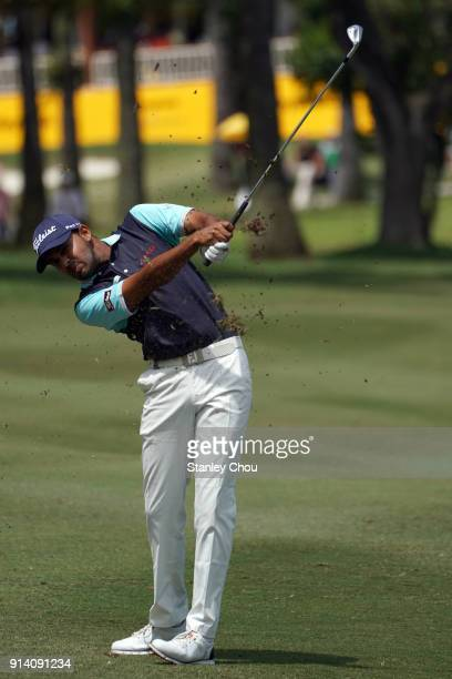 Khalin Joshi of India plays a shot during day four of the Maybank Championship Malaysia at Saujana Golf and Country Club on February 4 2018 in Kuala...