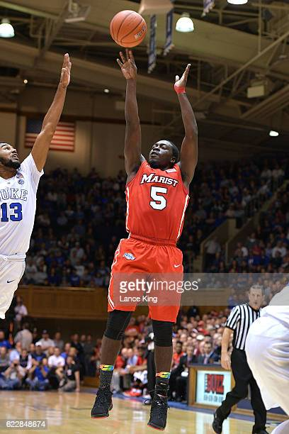 Khallid Hart of the Marist Red Foxes puts up a shot against the Duke Blue Devils at Cameron Indoor Stadium on November 11 2016 in Durham North...