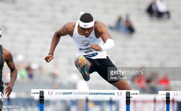 Khallifah Rosser clears a hurdle in the semifinals of the Mens 400 Meter hurdles during day 2 of the 2018 USATF Outdoor Championships at Drake...