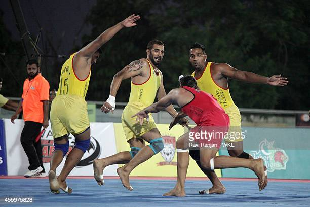 Khalsa Warriors compete against Yo Yo Tigers during the 2014 World Kabaddi league tournament at Surjit Hockey Stadium on September 21 2014 in...
