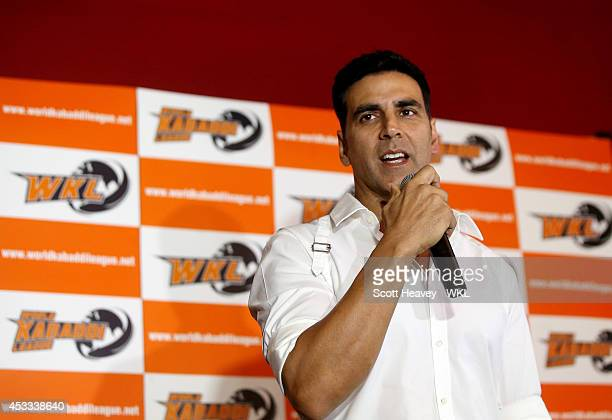 Khalsa Warriors coowner Akshay Kumar during the World Kabaddi League Press Conference on August 8 2014 in London England