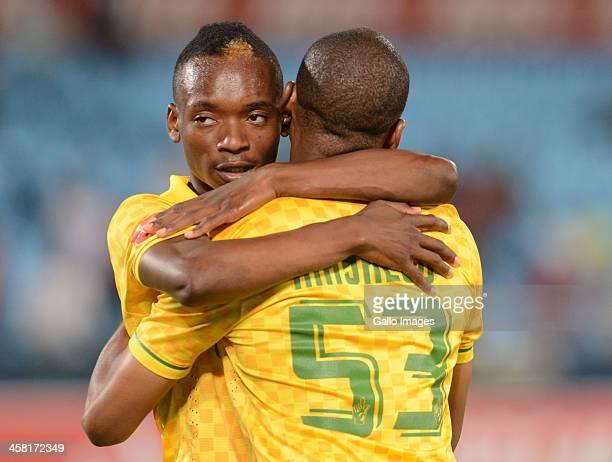 Khama Billiat and Katlego Mashego celebrate during the Absa Premiership match between Mamelodi Sundowns and Maritzburg United at Loftus Stadium on...