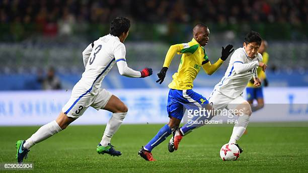 Khama Billiat of Mamelodi Sundowns makes a break during the FIFA Club World Cup second round match between Mamelodi Sundowns and Kashima Antlers at...