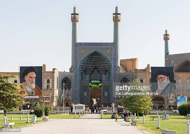 Khameini and Khomeini posters around Shah mosque on Naghsh-i Jahan square, Isfahan Province, Isfahan, Iran on October 13, 2016 in Isfahan, Iran.