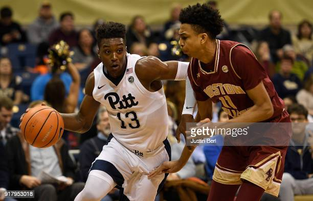 Khameron Davis of the Pittsburgh Panthers drives to the basket against Vin Baker Jr #11 of the Boston College Eagles in the first half during the...