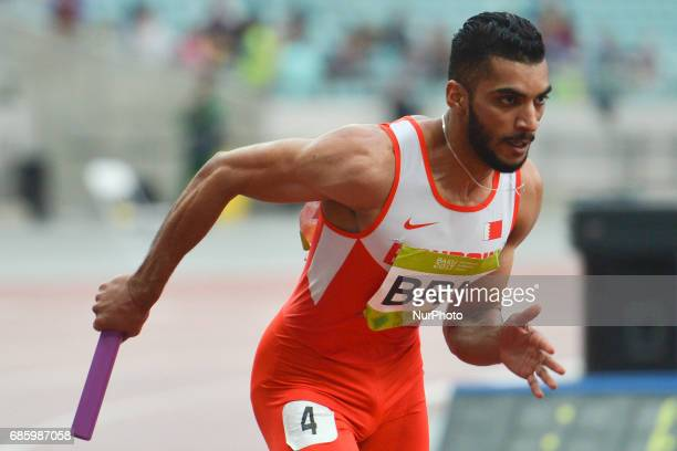 Khamis Ali Khamis of Bahrain in action during Men's 4 x 400 Relay final during day five of Athletics at Baku 2017 4th Islamic Solidarity Games at...