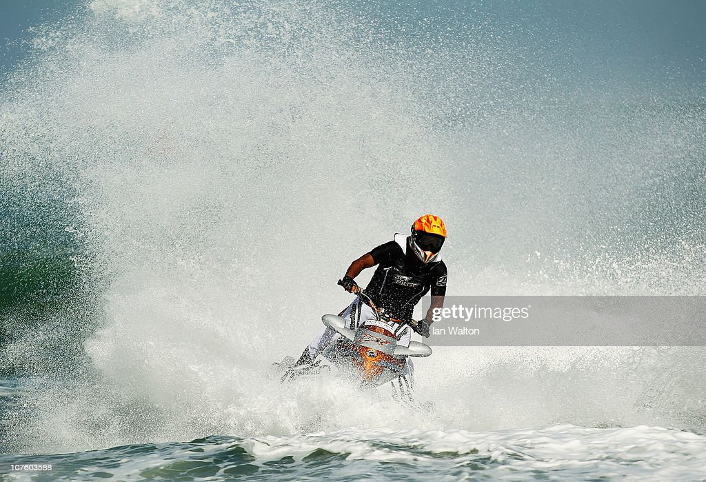 Khamis Sbeit Al Hosni of Oman competes in the Jetski Final at Al-Musannah Sports City during day eight of the 2nd Asian Beach Games Muscat 2010 on December 15, 2010 in Muscat, Oman.