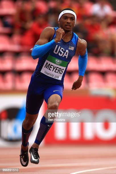 Khance Meyers of The USA in action during heat 1 of the men's 200m heats on day three of The IAAF World U20 Championships on July 12 2018 in Tampere...