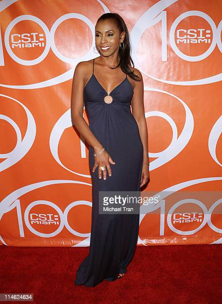 Khandi Alexander during CSI Miami 100th Episode Party Arrivals at Malibu Beach in Malibu California United States