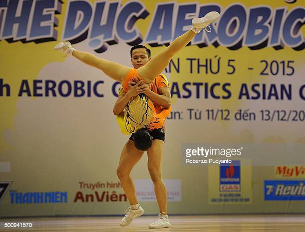 Khanh Hung Nguyen and Kim Anh Chau of Vietnam compete in Qualification Age Group 1 Mixed Pairs during the 5th Asian Aerobic Gymnastics Championships...